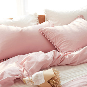 Image 3 - Wihte Pink Bedding Sets With Washed Ball Decorative Microfiber Fabric Queen King Duvet Cover Pillowcase Comfortable