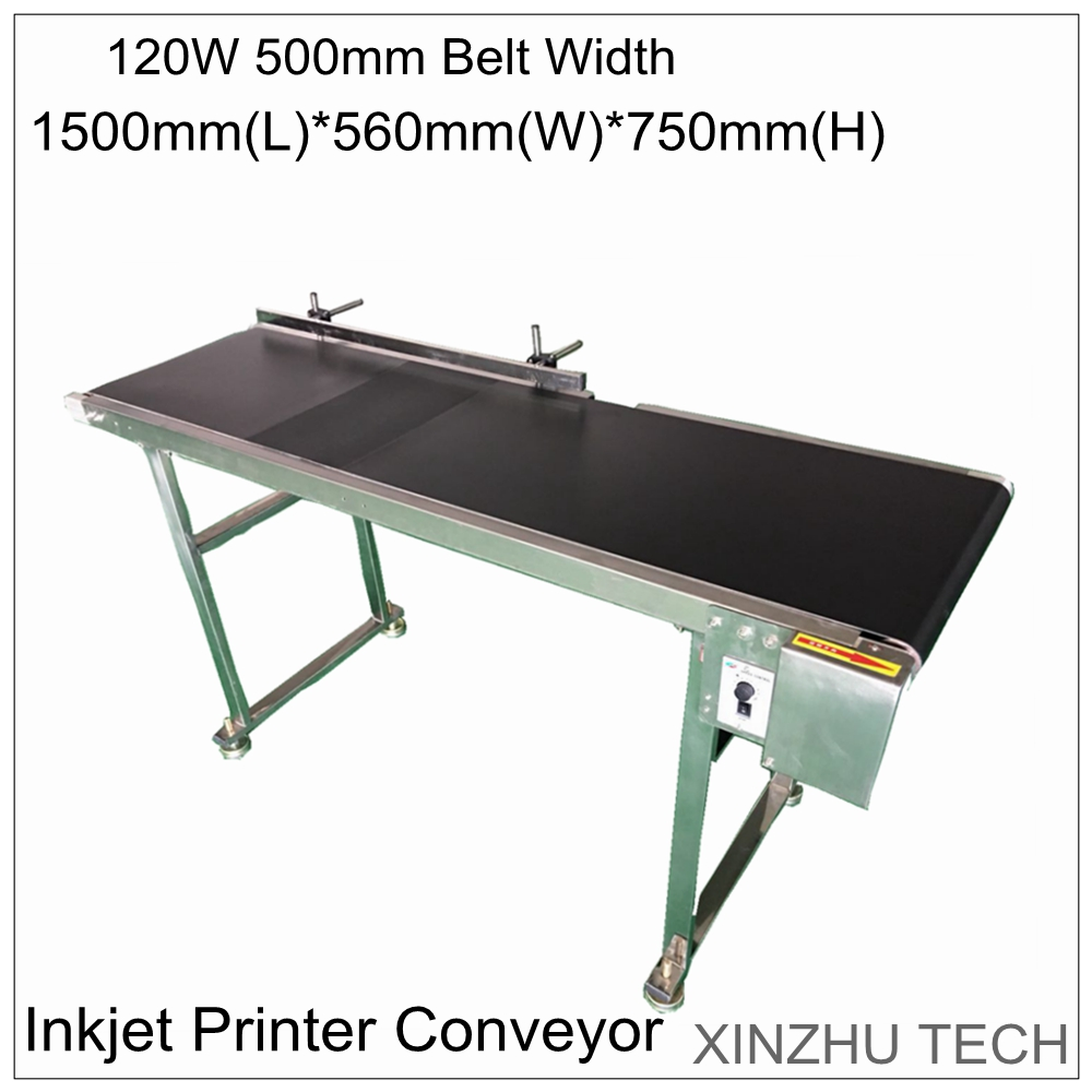 120W 500mm width Inkjet Printer Conveyor 155cm*70cm*26cm Belt Conveying Table Band Carrier with AC 0-30m/min Adjustable Speed