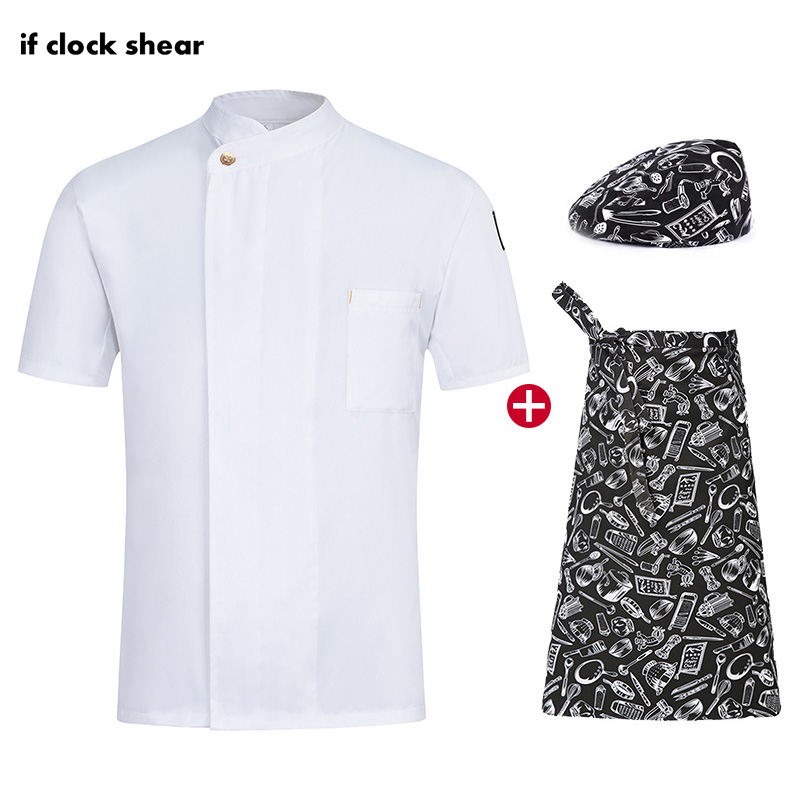 Chef Restaurant Uniforms Single Breasted Short Sleeve Chef Work Clothes Breathable Catering Jacket + Hat + Apron Male And Female