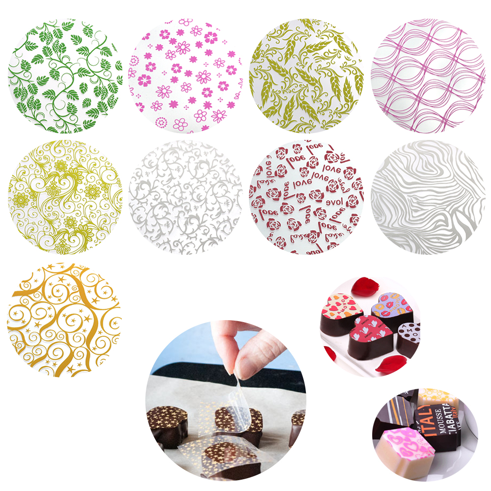 50pcs/set Mix Design Chocolate Transfer Sheet For DIY Chocolate Cookie Cake Decoration Baking Pastry Tools