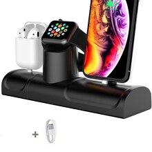 Airpod 용 3 In 1 충전 스탠드 Iphone 11 용 실리콘 충전 도킹 스테이션 Apple Watch 5 용 Iphone 11 Pro 충전기 홀더