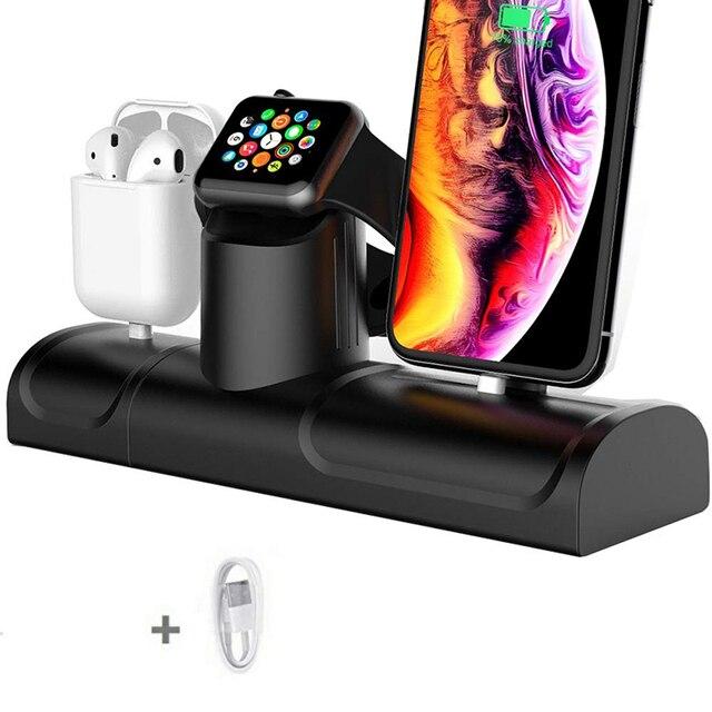 Soporte de carga 3 en 1 para Airpods Pro, estación de carga de silicona para Iphone 11, Iphone 11 Pro, soporte de cargador para Apple Watch 5