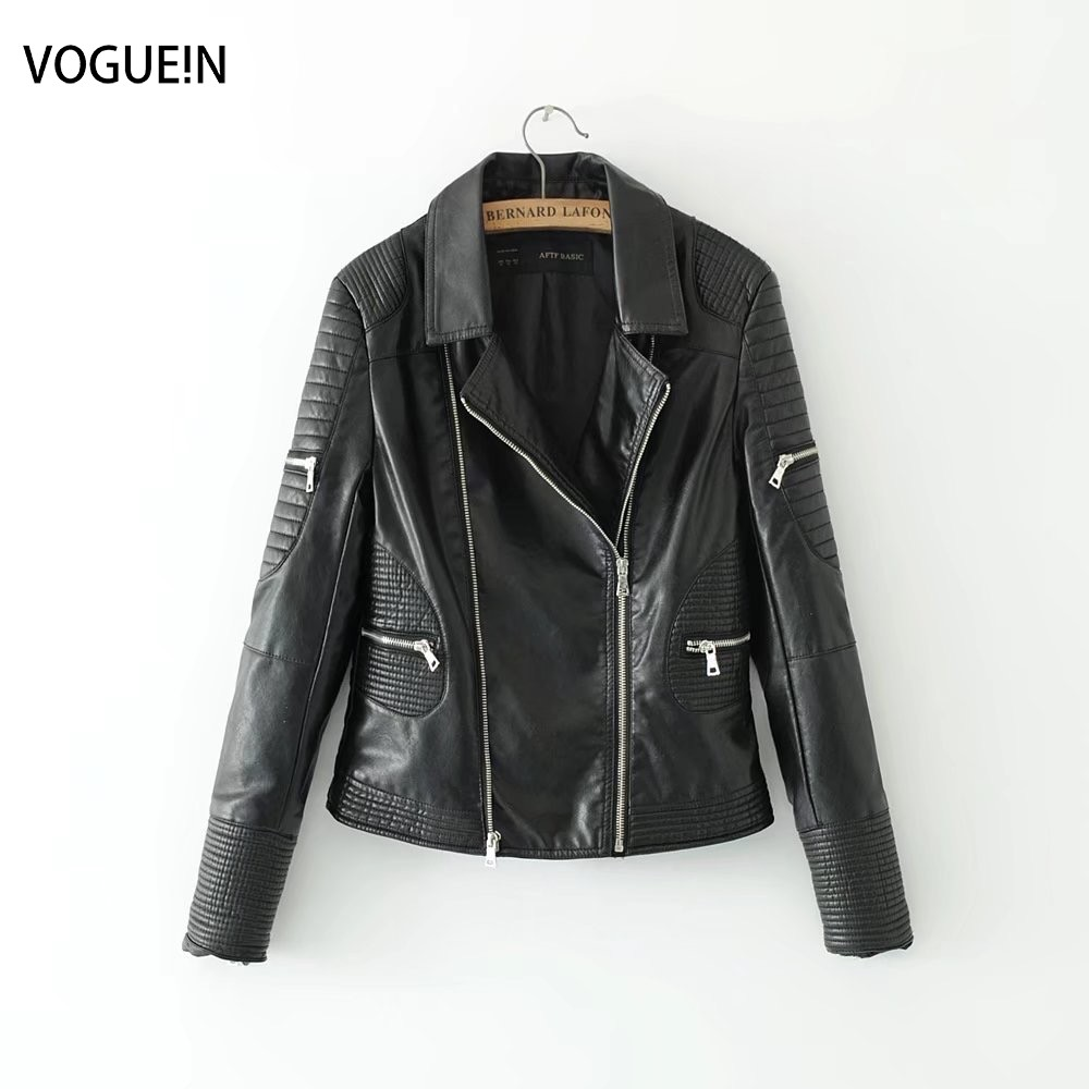 VOGUEIN New Womens Ladies Black Quilted Faux   Leather   Motorcycle Bomber Jacket Outerwear Coat Wholesale