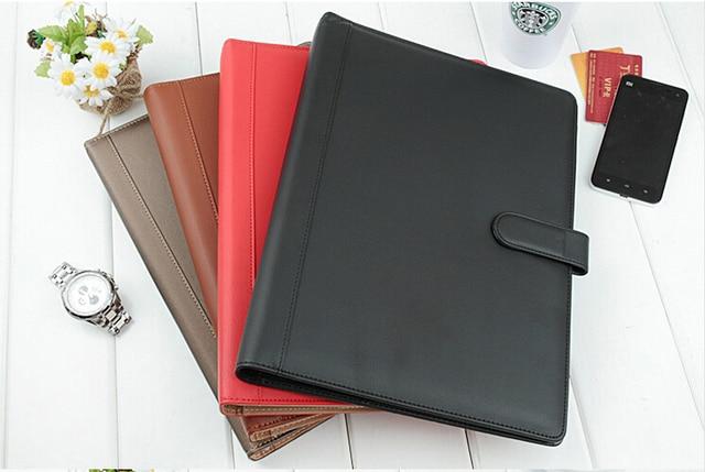 a4 leather business file document folder ring binder holder with card pen holder clip. Black Bedroom Furniture Sets. Home Design Ideas
