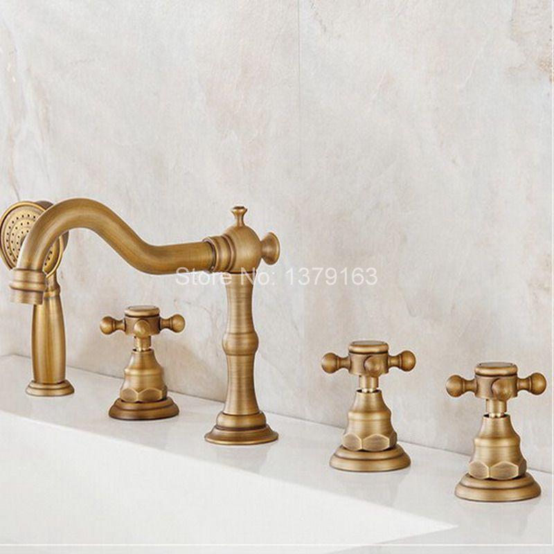 luxury gold finish widespread 5 holes bathtub mixer faucet w