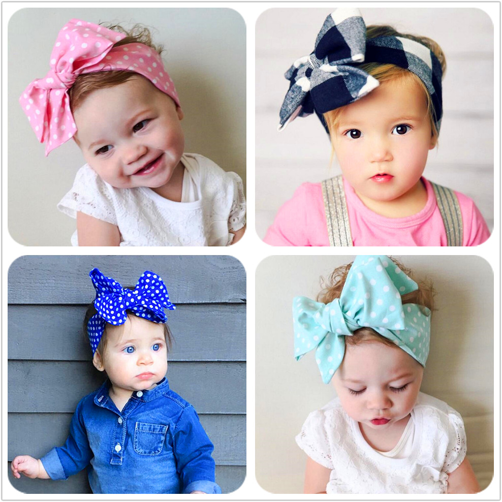 New Fashion 18colors Big bowknot Headband Baby girls Bow hair band children kids dot Cotton turban Head Wrap Hair Accessories D1 купить