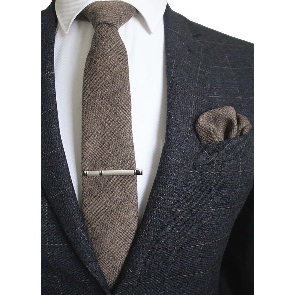 JEMYGINS Original Wool High Quality Hand Made Tie Cashmere Multicolor Solid Neck Tie & Pocket Square Hanky Clip Pin Gift Box Set