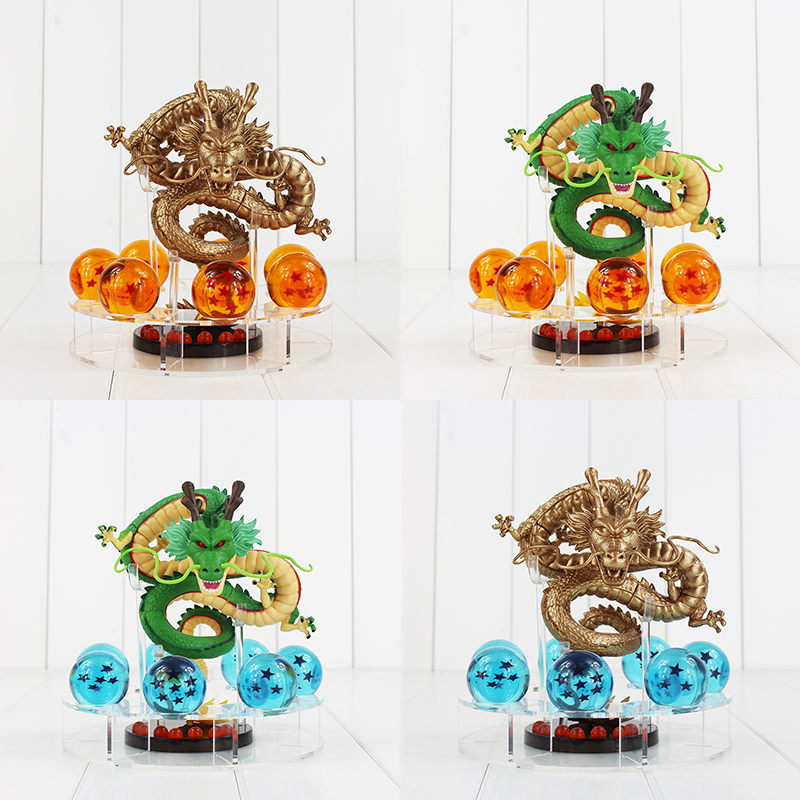 Dragon Ball Z 15cm Shenron Figure Toys Green and Golden Dragon Figure Set Shenlong + 7pcs 3.5cm Dragonballs Acrylic Shelf Toy комплект для татуировки oem 1 gig set golden dragon