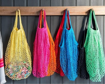 50pcs/lot Long handle Fruits & Vegetable Shopping String Cotton Net Mesh Bag For Sun Clothes Toys Basketball Storage Bags