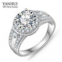 YANHUI Luxury Round 2 Carat SONA Diamant Wedding Rings For Women With White Gold Color Engagement Ring Wholesale YR060