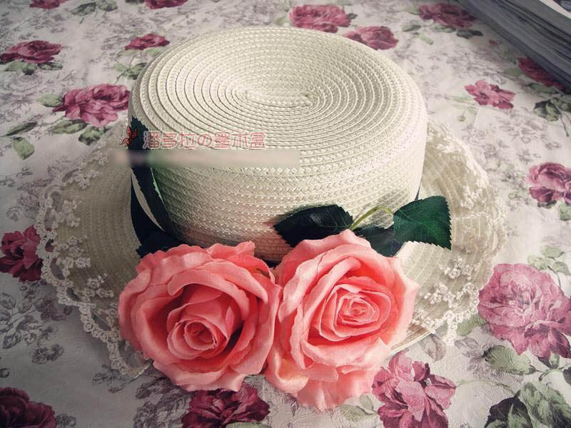 כובע שמש המדריך המקורי נסיכה מתוקה לוליטה תחרה שטוחה ניצן ורד גדול בסגנון אהבה בעבודת יד אירופה פרח כובע קש
