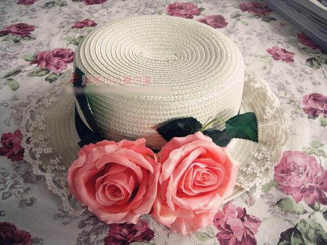 Princess sweet lolita sun hat The original manual handmade Europe amorous style big rose bud flat lace flower straw hat