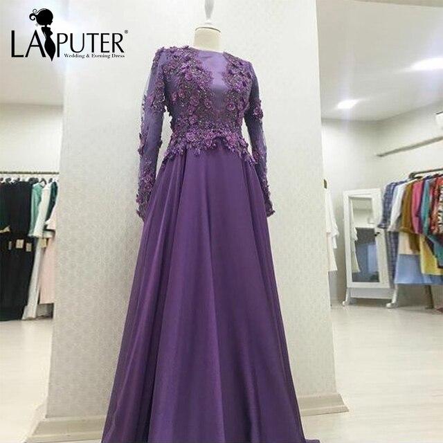 39ef1bf34a robe de soiree Flowers Appliques Long Sleeves Purple Evening Dresses Chiffon  A-line Floor Length Long Muslim Prom Dresses