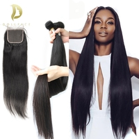 30 inch 40 inch Human Hair bundles with closure Straight Virgin Remy brazilian hair weave bundles 3 4 bundles Hair Extension