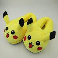 Pikachu Slippers Cartoon Plush Slipper With Full Expression Women Slippers Mens Emoji Home Slippers Winter House
