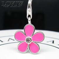 Thomas Style Pink Flower Charm With Lobster Clasp Fit Bracelet Necklace Silver Charm For Women Fashion