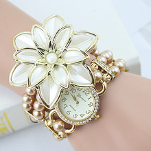 Фотография 2015 New Arrival Fashion Flowers Pearl Bracelet Watch & Creative Ladies watch & Bracelets & Bangles Watch With Free Shipping