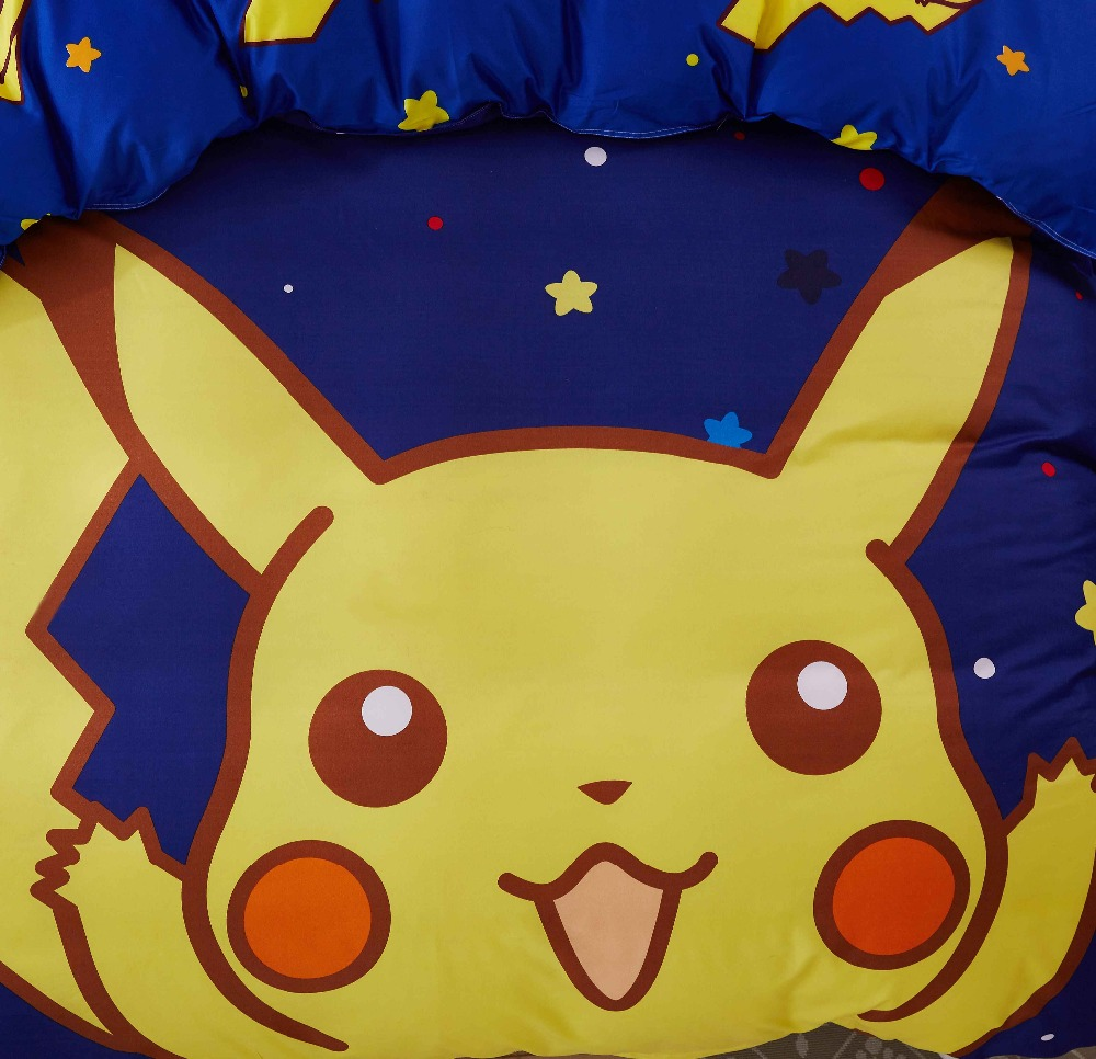 100% cotton soft and comfortable Cartoon anime Pikachu Pokemon 3pcs/4pcs twin /queen bedding set bedspread