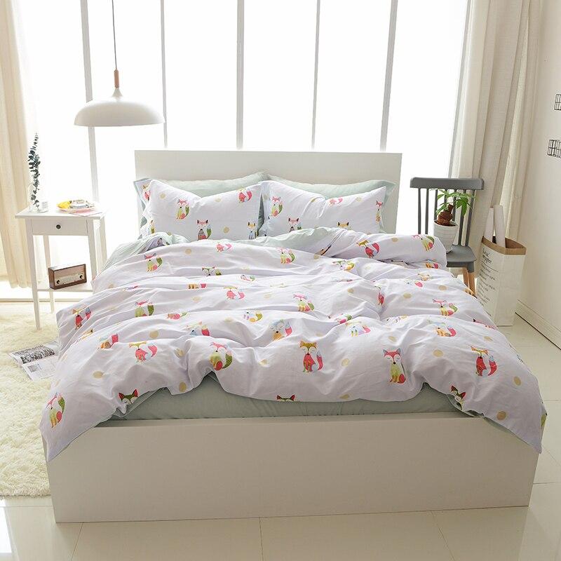 Svetanya Little Fox Bedding Sets Queen King Size Bedlinen 100% Egyptian Cotton Printed Duvet Cover Set