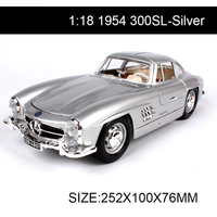 1:18 diecast Car 1954 300SL Silver Classic Cars 1:18 Alloy Car Metal Vehicle Collectible Models toys For Gift Collection
