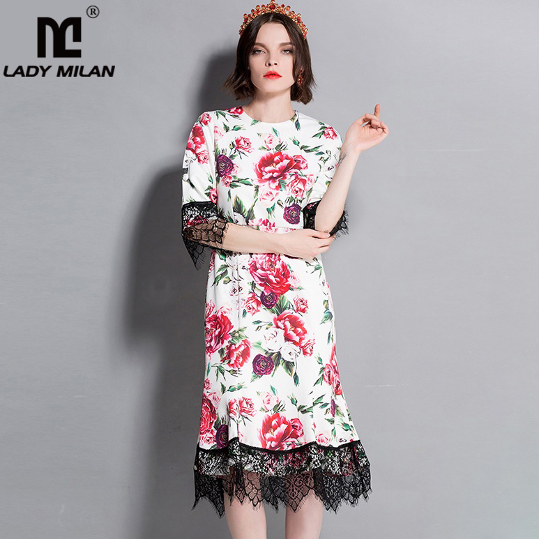 New Arrival 2018 Womens O Neck 3/4 Sleeves Floral Printed Lace Patchwork Ruffles High Street Fashion Casual Dresses