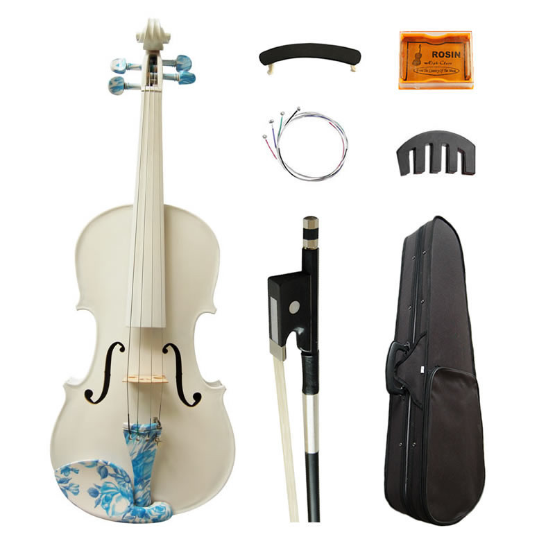 Acoustic Art Violin 4/4 White Painted Maple Student Beginner Violino Fiddle Strings Music Instruments w/ Full Kit handmade new solid maple wood brown acoustic violin violino 4 4 electric violin case bow included