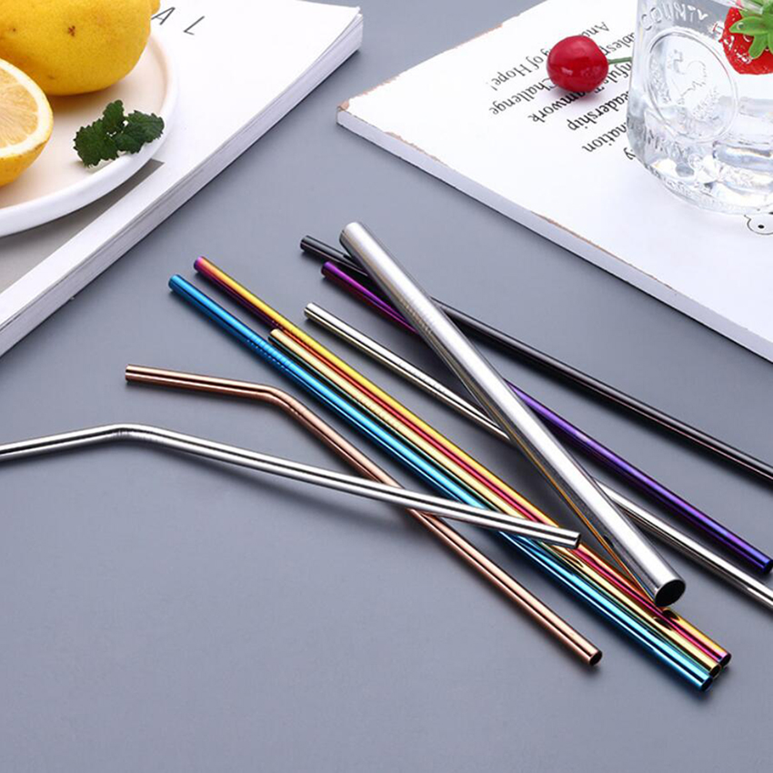 2pc/4pcs Reusable Metal Drinking Straws Colorful Stainless Steel + Cleaning Brush