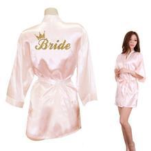 Свадебное кимоно с золотым блестящим принтом для невесты, женская одежда из искусственного шелка для девичника, свадебная одежда