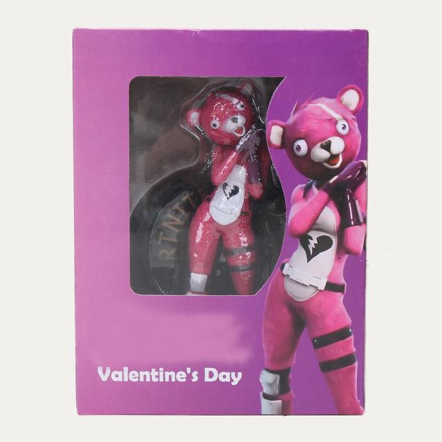 13cm Hot Game Fortnight Pink Bear Action Figure Toys Team Leader Pink Bear PVC Figure Model Toy