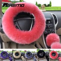 3pcs Set Pink Wool Plush Car Steering Wheel Cover Sets Spring Fur Leather Handle Sleeves 5