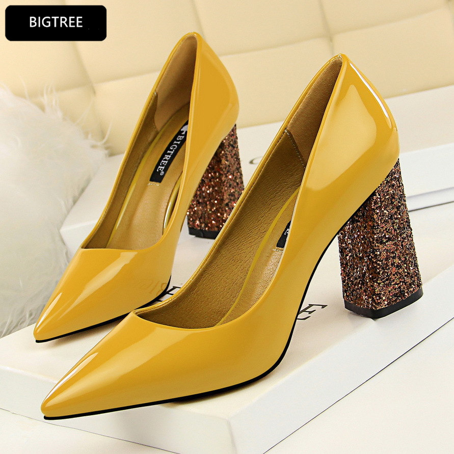 Bling Square Heel 8.5CM Women Platform Pumps 2018 New High Heels Shoes Pointed Toe Patent Leather Shoes For Ladies Wedding Party luxury brand crystal patent leather sandals women high heels thick heel women shoes with heels wedding shoes ladies silver pumps