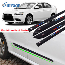 smRKE Car-styling 4pcs High Quality Brand New Side Doors Rubber Bumper Protector Guard Scratch Sticker Trim For Mitsubishi Vehic