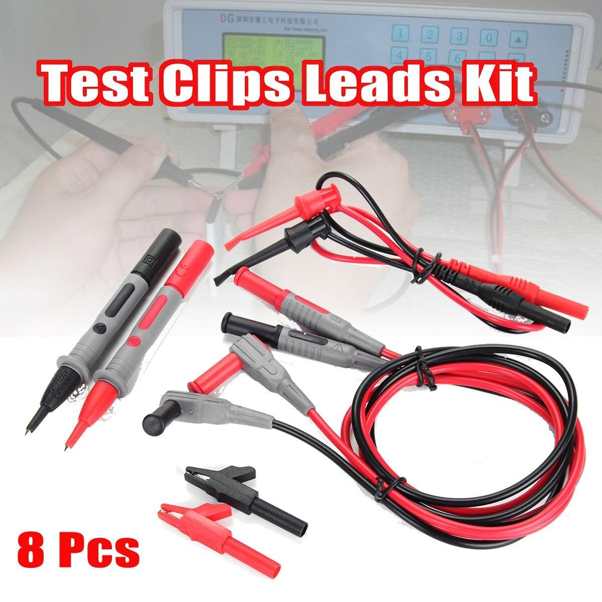 Set Of 8 Electronic Specialties Test Clips Leads Kit Banana Tester Probe Kit For Fluke Multimeter цены онлайн