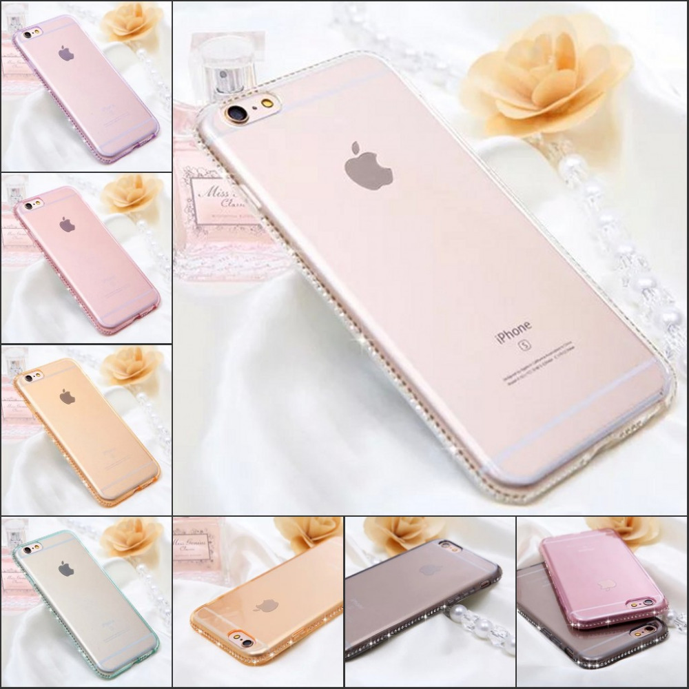 New Luxury Rhinestone Soft TPU Phone Cases For iPhone 5/5S 6 6S 4.7 5.5 Diamond Crystal Sparkling Bling Drill Back Cover