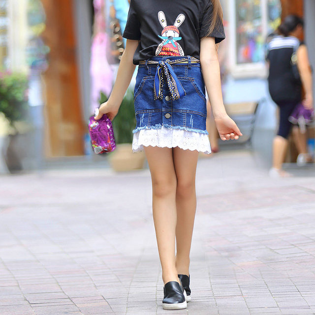 Girls Denim Skirt Buttons Style White Lace Crochet Ruffles Jeans Skirts Age 5 6 7 8 9 10 11 12 13 14T Years Old Children Clothes