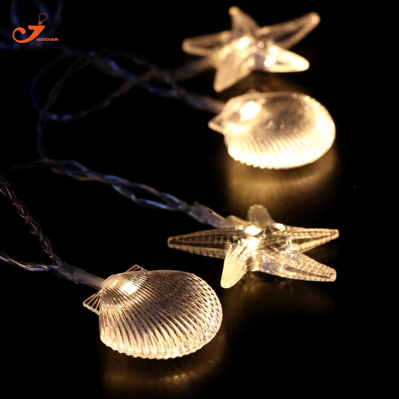 Shell string light Warm White Starfish fairy lights 10LED Summer decoration Wedding Christmas Garland lighting holiday batteries