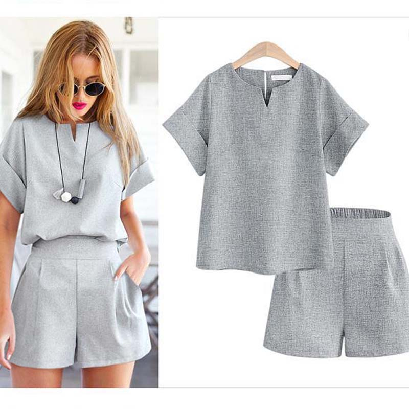 Women's Large Size Loose Thin Short-sleeved Shirt Suit