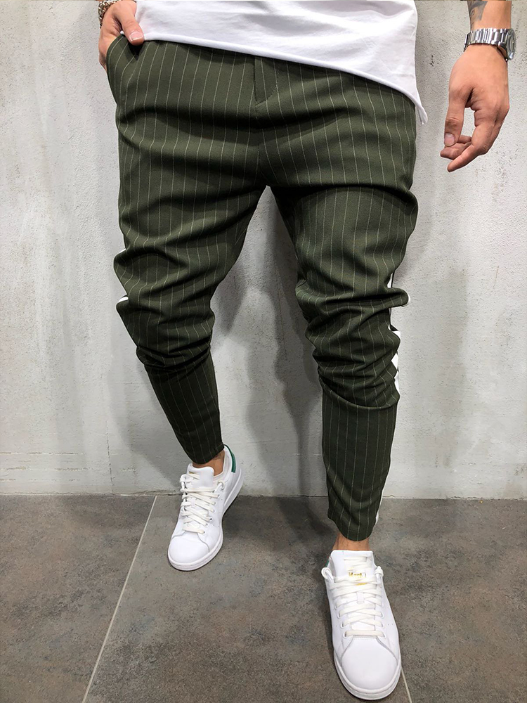 2020 KENNTRICE New Arrival Fashion Men Pants Striped Streetwear Khaki Green Casual Business Slim Suit Pants Jogger Trousers Men From Frenzen, $34.79 |