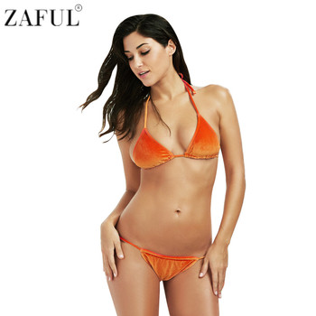 ZAFUL New Style Women Halter Tie String Triangle Velvet Swimsuit Bikini Set Beach Swimwear Biquini Maillot De Bain Bathing Suits Купальник