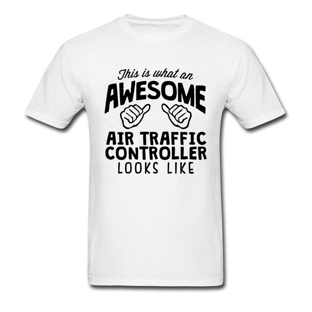 Text Title Tshirt For Men Awesome Air Traffic Controller Black World Print T-Shirts Quotes Mens Simple Cheaper T Shirt Tees