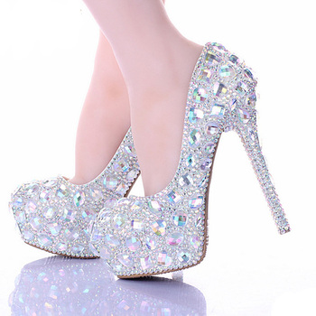 Lovely Wedding Shoes Sparkling Rhinestone Handcraft Bridal Shoes AB Crystal Diamond Thin Heel Evening Prom Party Women Pumps