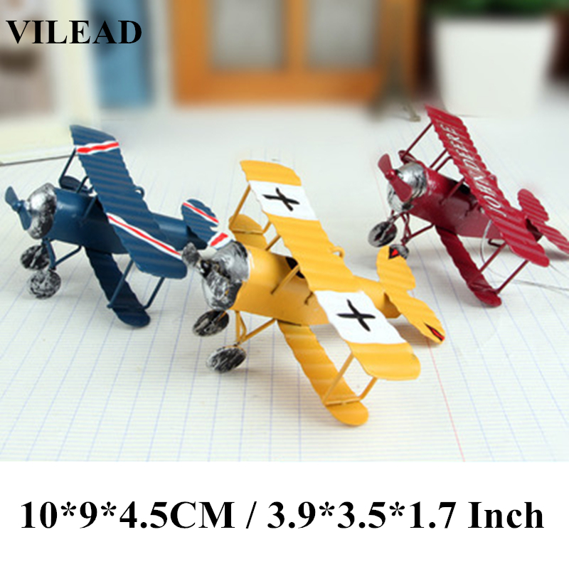Desk Decoration Iron Retro Airplane Figurines Metal Plane Model Vintage Glider Biplane Miniatures Home Decor Aircraft For Kids image