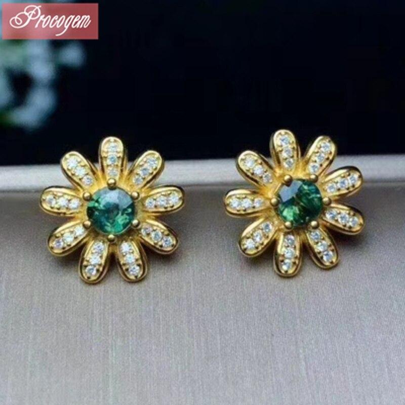 Boucles d'oreilles en saphir naturel pour femmes fiançailles saphir original véritable gemmes 925 argent Sterling 18 K plaqué or jaune #123