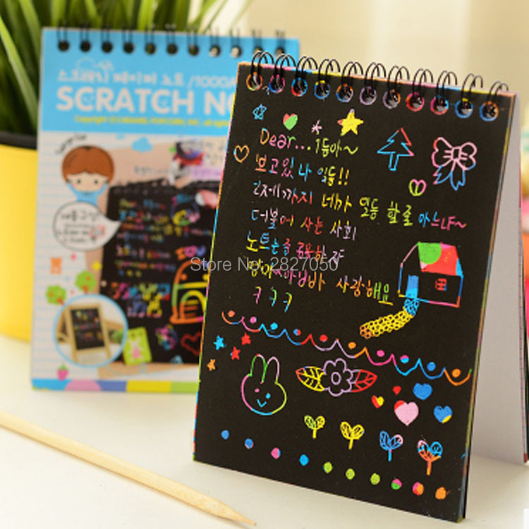 Magic-Drawing-Book-DIY-Scratchbook-Scratch-Stickers-Notebook-Black-Cardboard-Stationery-Drawing-Toy-As-Gift-For-Kids-3