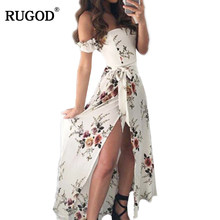 RUGOD 2019 Sexy Wrapped Chest Long Dresses Flouncing Flowers Printing Maxi Dress With Waist Belt Thigh Split Women Dress vestido(China)