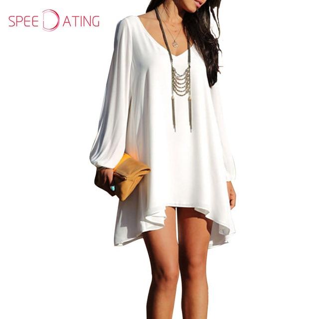 b0f3108abda Loose Fit 2017 Shift Casual Dresses V Neck Asymmetric Hem Long Sleeve  Cutout Short White Chiffon Dress Bishop Sleeve SPEEDATING