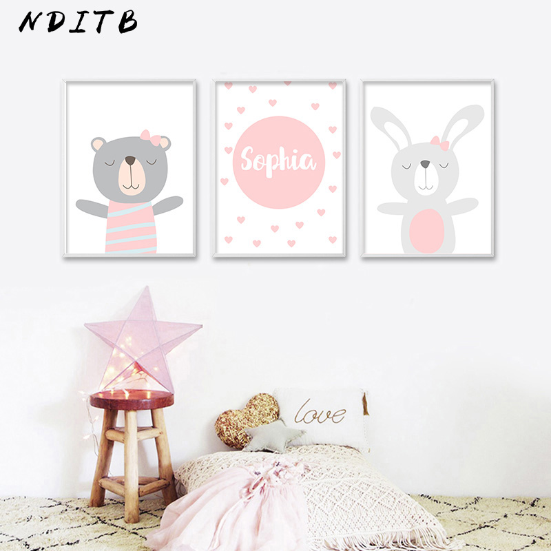 HTB1sZWmXovrK1RjSspcq6zzSXXaB NDITB Cartoon Animal Canvas Painting Nursery Prints Personal Name Custom Poster Wall Picture Nordic Baby Girl Room Decoration