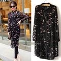 Большой размер 5XL Шифон блузка женщины с длинным рукавом блузка рубашка плюс размер птица отпечатано черный 8030