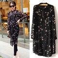 De gran tamaño 5XL blusa de La Gasa mujeres de manga larga camisa de la blusa más tamaño bird impreso negro 8030