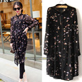 Large size 5XL Chiffon blouse women long sleeve blouse shirt plus size bird printed black 8030